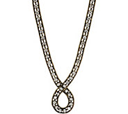LOGO Links Rhinestone Chain Loop Necklace - J350453