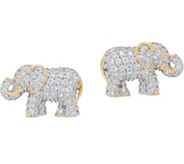 TOVA for Diamonique Elephant Stud Earrings, Sterling - J351253