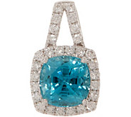 Cushion Cut Blue Zircon and Diamond Pendant, 14K, 2.00 cttw - J353753