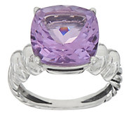 Cushion Cut Rose de France or Prasiolite Gemstone Ring, Sterling - J355353