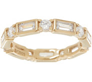 Diamonique Baguette and Round Eternity Band, Sterling or Gold Clad - J356753