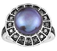 Honora Cultured Pearl 11mm & Black Diamond Sterling Ring - J383853