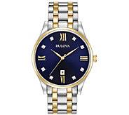 Bulova Mens Stainless Two-Tone Diamond AccentBracelet Watch - J384453