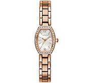 Caravelle Womens Rosetone Stainless Steel Crystal Watch - J384653