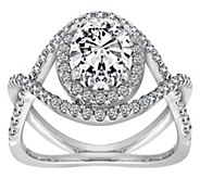 Diamonique Sterling Silver Oval Halo CrisscrossRing - J385653