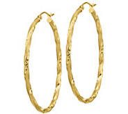 14K Gold 1-3/4 Twisted Oval Hoop Earrings - J385753