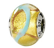 Prerogatives Sterling Yellow & Blue Italian Murano Glass Bead - J111754