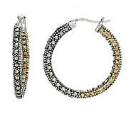 Suspicion Sterling Marcasite & Champagne Crystal Hoop Earring - J112454