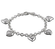 UltraFine Silver 7-1/2 Polished Heart Charm Bracelet - J113954