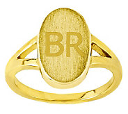 Personalized Satin Oval Signet Ring, 14K Gold - J310954