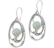 Or Paz Sterling Green Jade Dangle Earrings - J351654