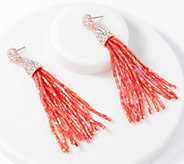 Susan Graver Beaded Tassel Earrings - J352254