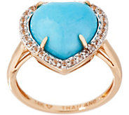 Kingman Turquoise Heart Design Ring, 14K - J354054