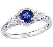 14K 1 cttw Blue & White and 1/8 cttw Diamond Ring - J377054