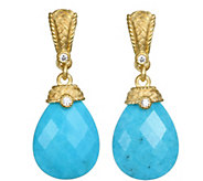 Judith Ripka Sterling & Clad Turquoise & Diamonique Earrings - J377154