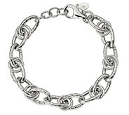 Italian Silver 7-1/2 Oval Hammered Link Bracelet, 18.2g - J382854
