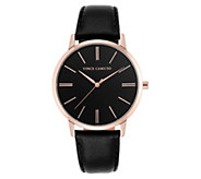 Vince Camuto Womens Rosetone Black Leather Strap Watch - J383554