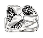 Hagit Sterling Silver Heart Leaf Ring - J484554