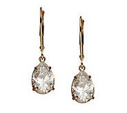 Diamonique 4.00 ct tw Pear Lever Back Earrings, 14K Gold - J105255