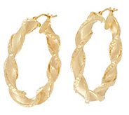 Arte d Oro 1-1/2 Satin Finish Twist Hoop Earrings 18K - J334955