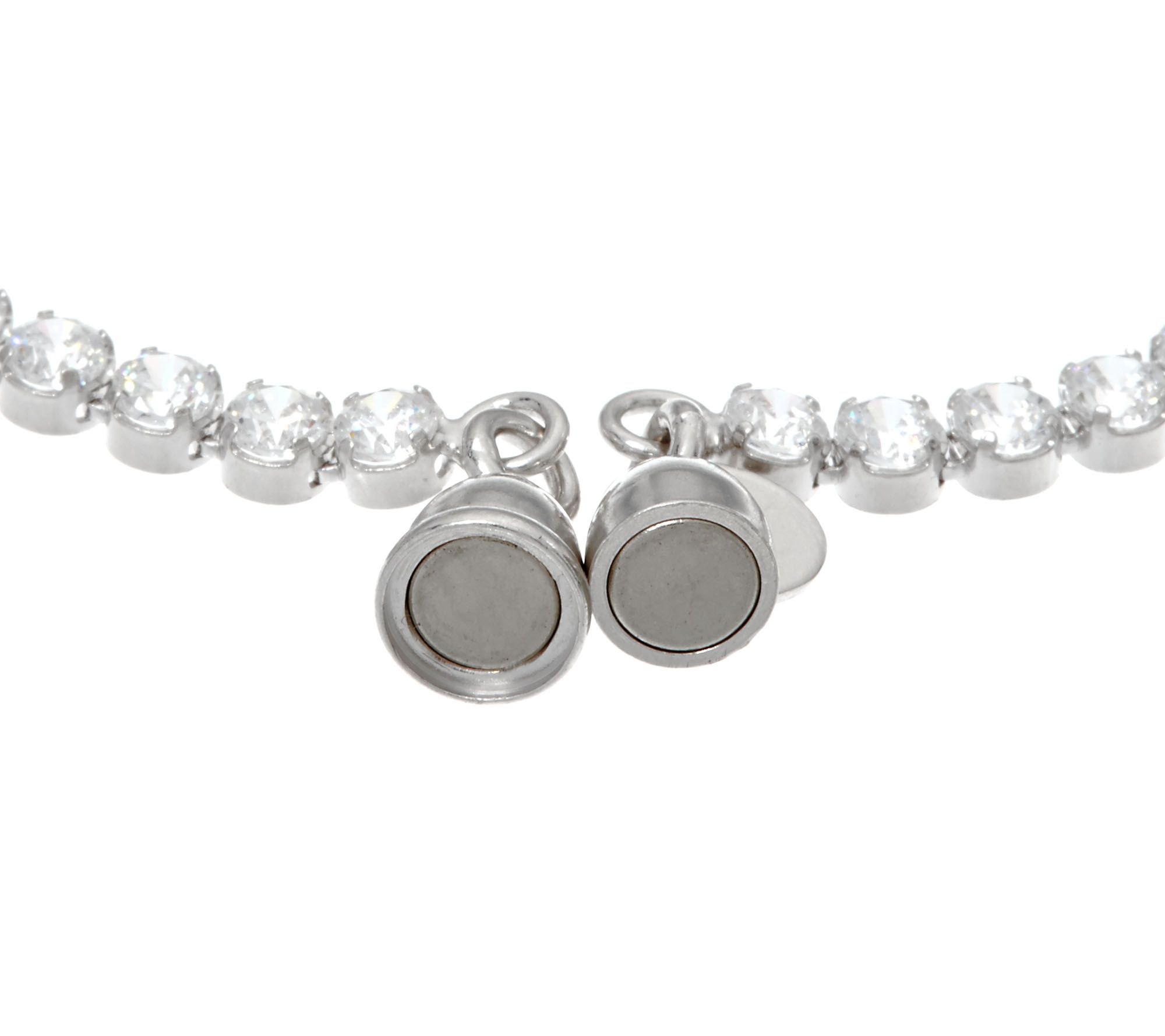 "As Is"" Diamonique 4 50 cttw Tennis Bracelet Sterl Magnetic Clasp"