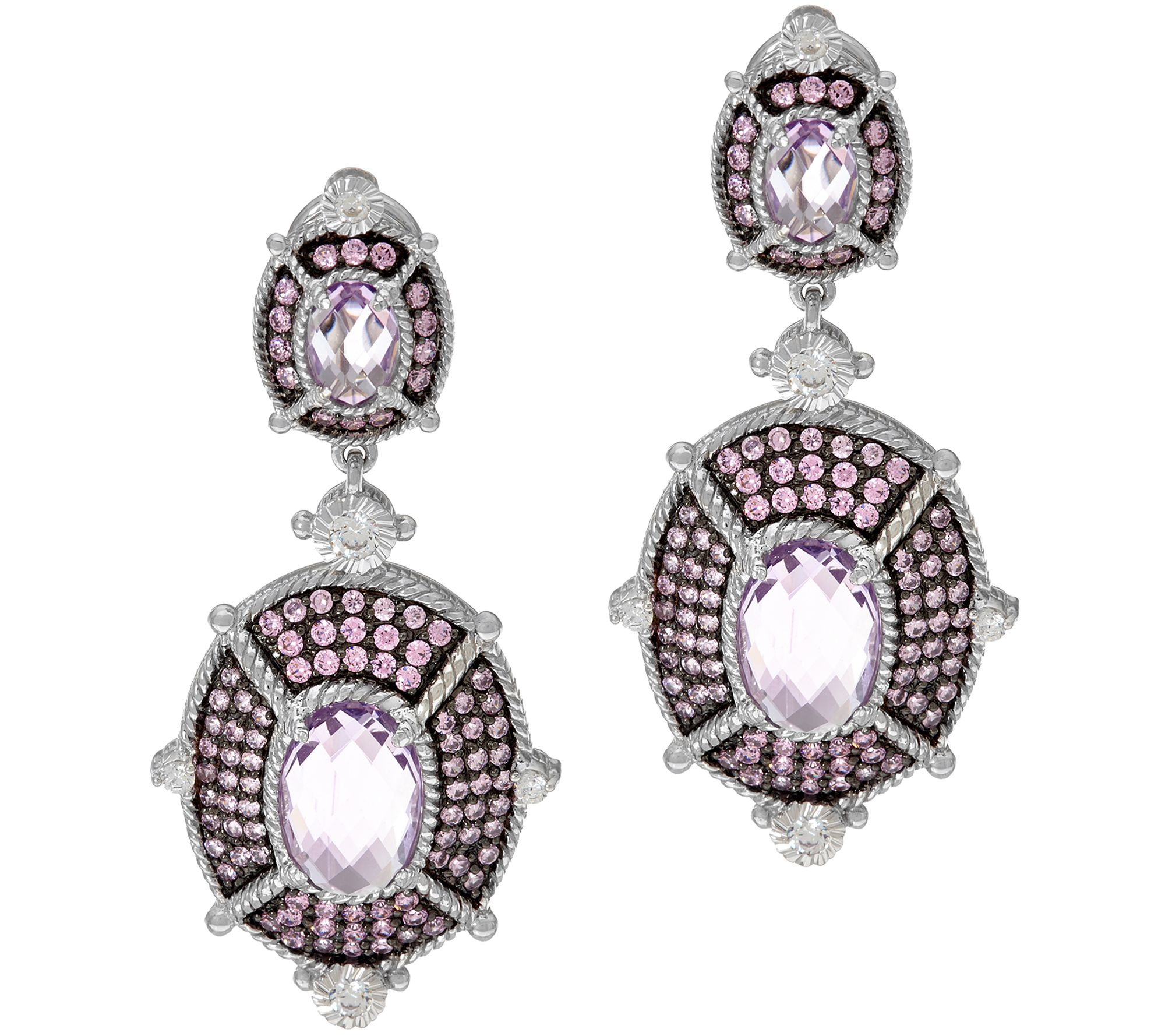 As Is Judith Ripka Pink Amethyst Diamonique Drop Earrings Qvc