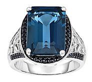 15.00 cttw London Blue Topaz & Black Spinel Ring, Sterling - J338655