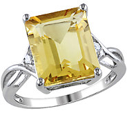 6.60cttw Emerald Cut Citrine Ring, Sterling Silver - J340755