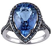 6.70 ct London Blue Topaz & 4/10 cttw Blue Diamond Ring, 14K - J343355