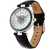 Colored Diamond Scattered Design Leather Strap Watch 1.00 cttw - J345955