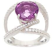 Judith Ripka Sterling Silver Purple Fluorite & Diamonique Open Ring - J348655