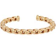 Italian Gold Average Status Link Cuff Bracelet, 14K Gold, 10.6g - J350955