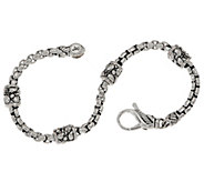 JAI Sterling Silver Textured Station Box Chain Bracelet - J354955