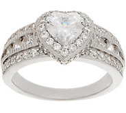 Diamonique 100 Facet Halo Design Ring, Platinum Clad - J357655