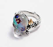 Barbara Bixby Sterling Silver 18K Gold Gemstone Skull Ring - J360555
