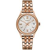 Caravelle Womens Rosetone Stainless Steel Bracelet Watch - J384655