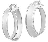 Italian Gold Satin Hoop Earrings, 14K - J385555