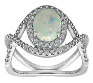 Diamonique Sterling Silver Simulated Opal HaloCrisscross Ring - J385655