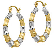 14K Gold 3/4 Two-Tone Bamboo Hoop Earrings - J385755