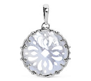 Carolyn Pollack Sterling Silver Carved Shell Pendant Enhancer - J389455