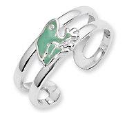 Sterling Enameled Frog Toe Ring - J111456