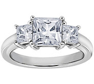 Diamonique 1.50 cttw 3 Stone Princess Cut Ring,Platinum Clad - J111656