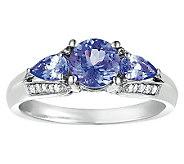 Sterling 1 cttw Tanzanite & 1/8 cttw Diamond Ring - J308556