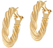 Arte dOro Polished Twist Design Omega Back Earrings, 18K - J334956