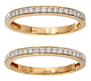 White Diamond Set of 2 Band Rings, 14K Gold 1/3 cttw by Affinity - J347756