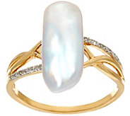 As Is 14K Gold Diamond Accent & American Pearl Ring - J350156