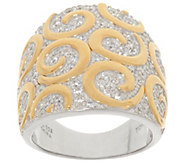 TOVA Diamonique Two-Tone Swirl Design Ring, Sterling - J353756