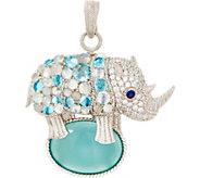 Judith Ripka Sterling Silver Gemstone Rachel Rhino Pin/Enhancer - J355356