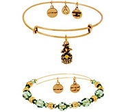 Alex and Ani S/2 Bangles w/ Charms & Swarovski Crystals - J355956