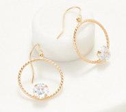 Diamonique 2.65 cttw Round Dangle Earrings, 14K Gold - J360156